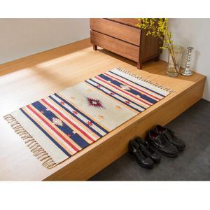 キリム コットンマット 70×120 ラグ ラグマット アジアン インド 玄関マット キッチンマット バスマット 洗える 長方形 rcmdin 07