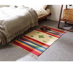 キリム コットンマット 70×120 ラグ ラグマット アジアン インド 玄関マット キッチンマット バスマット 洗える 長方形 rcmdin 09