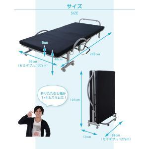低反発 メッシュ仕様 電動 リクライニングベッド セミダブル ベッド 折りたたみ 折りたたみベッド 代引不可|rcmdin|02