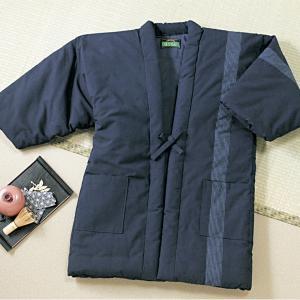 日本製 半天 紳士用 久留米織 はんてん フリーサイズ ロング 紺 M~LL 部屋着 ルームウェア 表地綿100% 中綿入り メンズ 代引不可|rcmdin