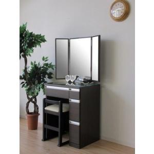 一生紀 ドレッサー&チェア 3面鏡 幅60cm(ダークブラウン) チェア付き 3面鏡ドレッサー(代引き不可)|rcmdin