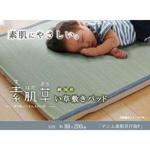 純国産 やわらかい草の敷きパッド 『デニム 素肌草 汗取P』 約88×200cm|rcmdin