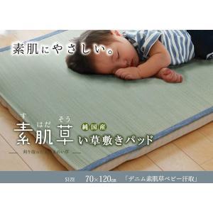 純国産 やわらかい草の敷きパッド 『デニム 素肌草 ベビー汗取P』 約70×120cm|rcmdin