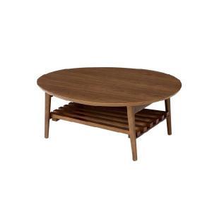 NOIX(ノワ)棚付折れ脚テーブル-エッグ LP-9122-ブラウン rcmdin