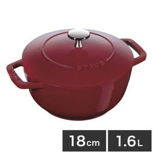 ストウブ Wa-NABE ワナベ M 1.6L 18cm ボルドー staub フランス製 鍋 なべ 鋳物ホーロー ココット IH対応 オーブン可|rcmdin