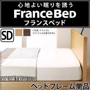フランスベッド セミダブル 収納付きフラットヘッドボードベッド 〔オーブリー〕 ベッド下収納なし セミダブル フレームのみ 代引不可
