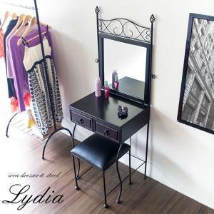 Lydia アイアンドレッサー リディア ドレッサー&スツール ヴィンテージ風 ワイドミラー|rcmdin