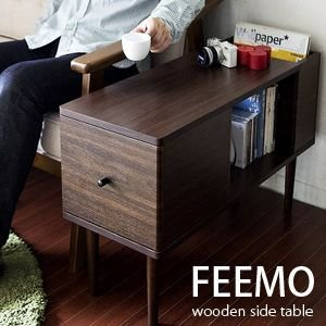 サイドテーブル 木製 テーブル 収納 ソファやベッド脇にピッタリ サイドテーブル FEEMO フィーモ|rcmdin