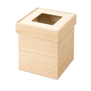 天然木桐製ゴミ箱 正方形 ナチュラル|rcmdin