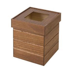 天然木桐製ゴミ箱 正方形 ブラウン|rcmdin