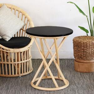 サイドテーブル ラタン 籐家具 アジアン家具 アジアン 天板木製 ナチュラル 代引不可 rcmdin