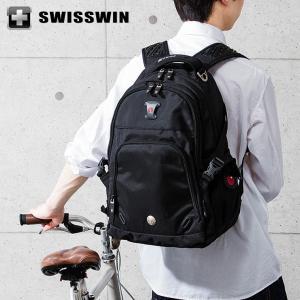 SWISSWIN リュック リュックサック ビジネスリュック メンズ SW9017 スイスウィン ブラック 撥水 PC対応 大容量 通勤 出張 旅行|rcmdse