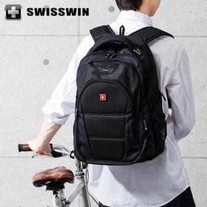 SWISSWIN リュック リュックサック ビジネスリュック メンズ SW9207 スイスウィン ブラック 撥水 PC対応 大容量 通勤 出張 旅行|rcmdse