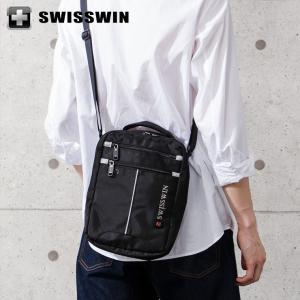 SWISSWIN ショルダーバッグ 斜め掛けバッグ SWB026 スイスウィン ブラック 大容量 2WAY iPad対応 ミニバッグ メンズ|rcmdse