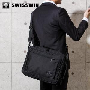 SWISSWIN 3WAY ビジネスバッグ ビジネスリュック メンズ SWE1018 スイスウィン ショルダーバッグ 撥水 PC対応 大容量 通勤 出張|rcmdse
