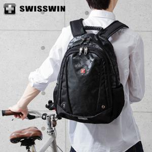 SWISSWIN リュック リュックサック ビジネスリュック メンズ SW6011V スイスウィン ブラック 撥水 PC対応 大容量 通勤 出張 旅行|rcmdse