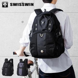 SWISSWIN リュック リュックサック ビジネスリュック メンズ SW9002N スイスウィン ブラック グレー 撥水 PC対応|rcmdse