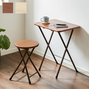 コンパクト テーブル&チェアセット 折りたたみ 一人用 幅約50cm おしゃれ ヴィンテージ調 デスク 折り畳み ブラウン ナチュラル|rcmdse