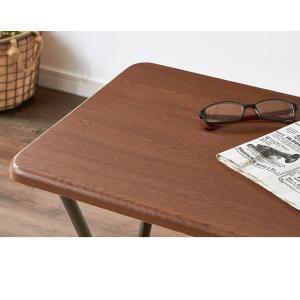 コンパクト テーブル&チェアセット 折りたたみ 一人用 幅約50cm おしゃれ ヴィンテージ調 デスク 折り畳み ブラウン ナチュラル|rcmdse|16