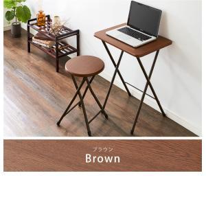 コンパクト テーブル&チェアセット 折りたたみ 一人用 幅約50cm おしゃれ ヴィンテージ調 デスク 折り畳み ブラウン ナチュラル|rcmdse|03