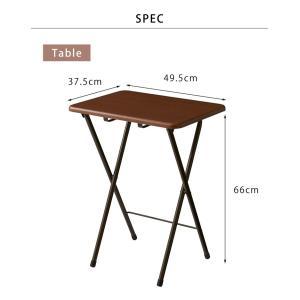 コンパクト テーブル&チェアセット 折りたたみ 一人用 幅約50cm おしゃれ ヴィンテージ調 デスク 折り畳み ブラウン ナチュラル|rcmdse|04