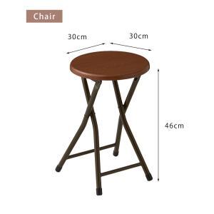 コンパクト テーブル&チェアセット 折りたたみ 一人用 幅約50cm おしゃれ ヴィンテージ調 デスク 折り畳み ブラウン ナチュラル|rcmdse|05