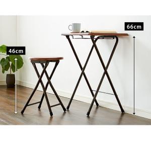 コンパクト テーブル&チェアセット 折りたたみ 一人用 幅約50cm おしゃれ ヴィンテージ調 デスク 折り畳み ブラウン ナチュラル|rcmdse|09