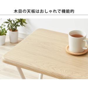 コンパクト テーブル&チェアセット 折りたたみ 一人用 幅約50cm おしゃれ ヴィンテージ調 デスク 折り畳み ブラウン ナチュラル|rcmdse|10