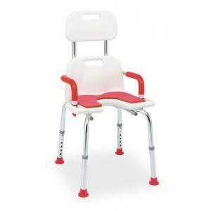 左右に持ち手、シャワーフック付き。座面はクッション付き。背もたれは高さ3段階調節、取り外し可。