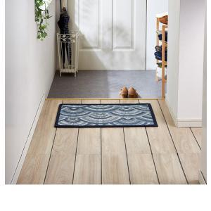 デザイン ドアマット 玄関マット 73×43 ウッド柄 木目柄 波柄 リーフ柄 薄型 玄関マット かわいい おしゃれ 代引不可|rcmdse|09