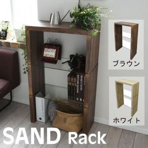 sand SAND オープンラック リビング ガラスラック ガラス 北欧 洋室 洋風 モダン 強化 居間 四角 幅60 古材風 ヴィンテージ|rcmdse