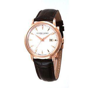 HUNTING WORLD ハンティングワールド プレゼンテ 腕時計 スイス製  HW914PSIBR 茶皮ベルト|rcmdse
