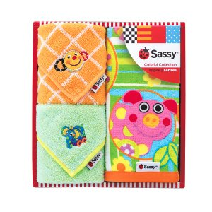 Sassy サッシー 正規品 ギフトタオルminiセット ブルー&オレンジ NZSA5122 代引不可|rcmdse