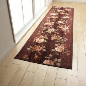廊下敷き 廊下マット 65cm×540cm バラ 贈物 ベルサイユ 与え ウォッシャブル 代引不可 カーペット ロングカーペット 洗える