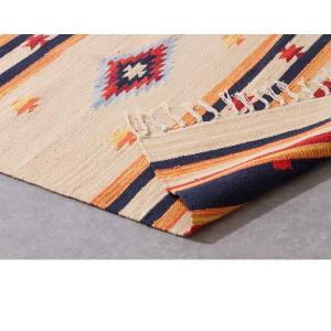 キリム コットンマット 70×120 ラグ ラグマット アジアン インド 玄関マット キッチンマット バスマット 洗える 長方形 rcmdse 17