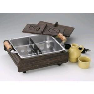 木枠にステンレス製鍋と木蓋、具を仕切る仕切り板やタレ陶器付きです。♪ ●これから寒くなるにつれ、恋し...
