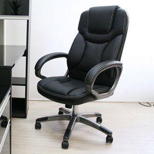 肘掛付き・ロッキング機能付き 立体クッションオフィスチェアー ブラック HLC-003BK|rcmdse