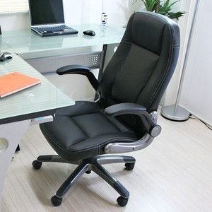 動く肘掛付き・ロッキング機能付き 立体クッションオフィスチェアー ブラック  HLC-005BK|rcmdse