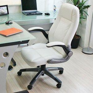 動く肘掛付き・ロッキング機能付き 立体クッションオフィスチェアー ホワイト HLC-006WH|rcmdse