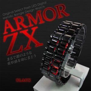 腕時計 LED デジタル メンズ LEDブレスウォッチ ARMOR-ZX ブラック|rcmdse