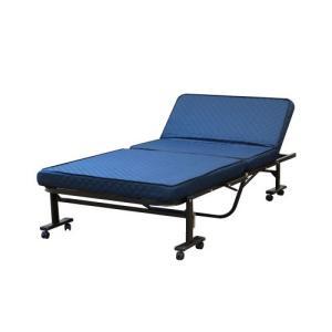 高床式高反発リクライニングベッド シングルサイズ 組み立て不要 折り畳み 省スペース キャスター付き 高反発ウレタン 代引不可|rcmdse