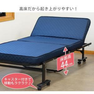 高床式高反発リクライニングベッド シングルサイズ 組み立て不要 折り畳み 省スペース キャスター付き 高反発ウレタン 代引不可|rcmdse|05