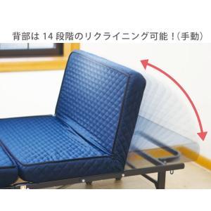 高床式高反発リクライニングベッド シングルサイズ 組み立て不要 折り畳み 省スペース キャスター付き 高反発ウレタン 代引不可|rcmdse|06