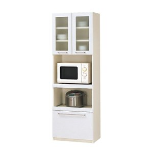 本州・四国は開梱設置無料 パモウナ 食器棚YC 幅60×高さ180cm YC-S600R プレーンホワイト キッチンボード ダイニングボード 代引不可|rcmdse