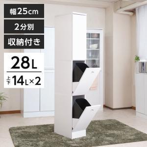 日本製 ダストボックス ゴミ箱付き 棚 コンパクト スリム 2分別 幅25 代引不可 白 おしゃれ アウトレット ホワイト 収納棚 正規認証品 新規格