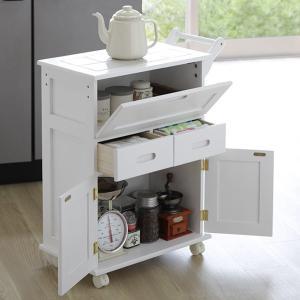 天然木 桐 フラップ式 キッチンワゴン 3段 ホワイト 収納 キッチン収納 便利 おしゃれ 代引不可|rcmdse