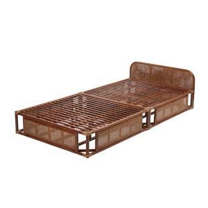 ラタン ベッドフレーム シングル 籐家具 インテリア ベッドフレーム すのこベッド シングルベッド 布団 ふとん 籐 寝室 和室 代引不可|rcmdse