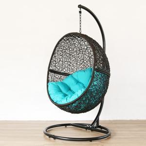 ハンギングチェア ワイド GY(グレー)生地:R(ブルー) ハンモックチェア 椅子 イス パーソナルチェア 一人掛け 撥水 クッション 代引不可 rcmdse