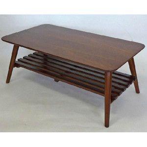 テーブル センターテーブル 木目 ウオールナット棚つき リビングテーブル ビーンズ90 高級感ある木目の折りたたみテーブル ポイント10倍