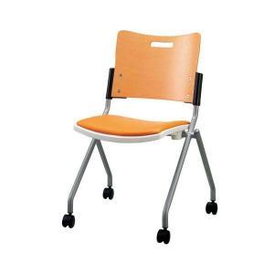 ジョインテックス 会議椅子 スタッキングチェア ミーティングチェア 引出物 肘なし 座面:合成皮革 〔完成品〕 新作販売 合皮 キャスター付き FJC-K8L OR